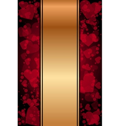 red and gold background with hearts vector image