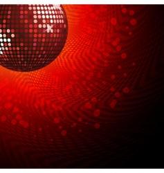 red disco ball and haltone vector image vector image