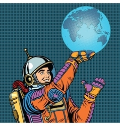 Retro astronaut is holding the planet Earth on vector image