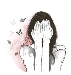 sad girl and butterflies vector image