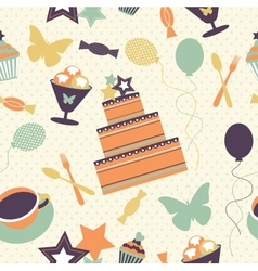 Seamless pattern with decorative birthday elements vector