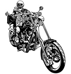 Skeleton rider on chopper vector