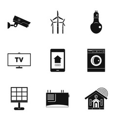 smart home system icon set simple style vector image