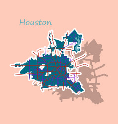 Sticker map houston city texas roads vector