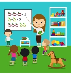 Teacher teaching kids vector