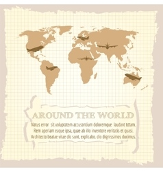 Vintage world map airplanes vector