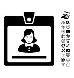 Woman badge icon with air drone tools bonus vector