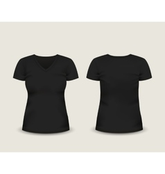 Black V-neck t-shirt template vector image