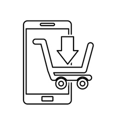 Electronic commerce with smartphone vector