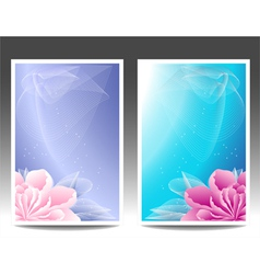 Two flowers banners or background with pink magen vector