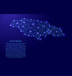 Map of jamaica from polygonal blue lines and glowi vector
