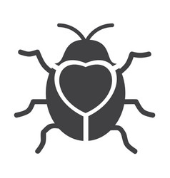 Cute flying ladybug heart shape with bug vector