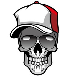 Skull wearing hat and sunglasses vector
