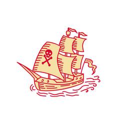 Pirate sailing ship galleon mono line vector