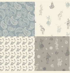 Seamless patterns with oriental drawings vector