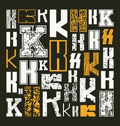 Set versions of letters k vector
