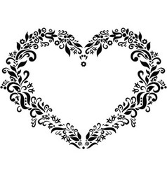 Embroidery inspired heart shape vector