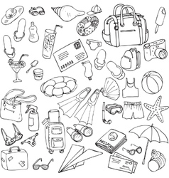 Sea and travel set of sketch vector