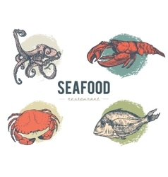 Vintage seafood restaurant collection vector