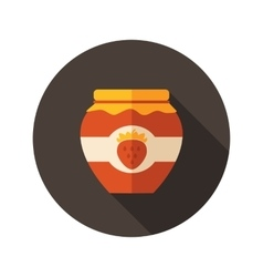 Strawberry jam jar flat icon with long shadow vector