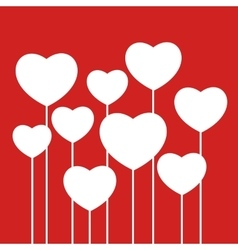 White hearts on red background vector