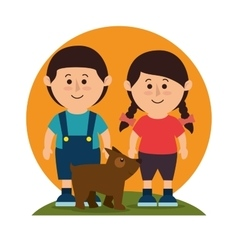 Kids with dog pet vector