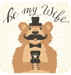 Be my wife hipster bear with an offer of marriage vector