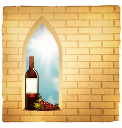 Red wine bottle in arc window vector