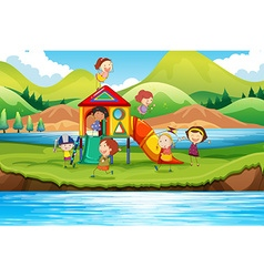 Children playing slide in the park vector