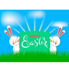 Happy easter banner with rabbits vector