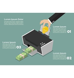 Transform the idea to the money by printer vector