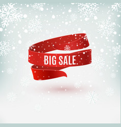 big sale red ribbon on winter background vector image vector image