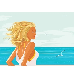 Blonde woman at the sea vector