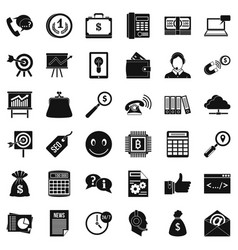 Business marketing icons set simple style vector