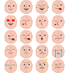 Cartoon brain emoji set vector image vector image