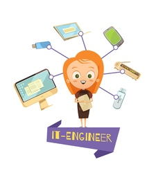 Cartoon female figurine of it engineer vector