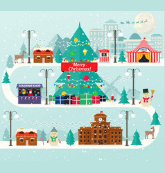 christmas urban and rural landscape vector image