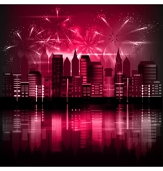 City at night with fireworks vector image vector image