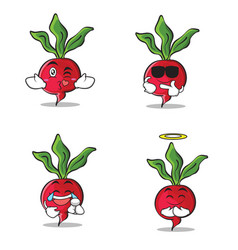 Collection set of radish character cartoon style vector