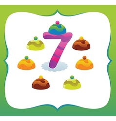Collection Sweet Numbers for Kids 7 vector image vector image