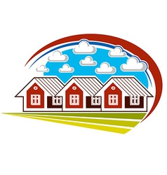 Colorful of country houses on nature backgro vector