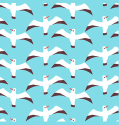 flat atlantic seabirds seamless pattern vector image