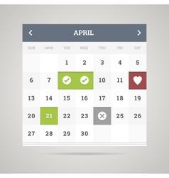 Flat calendar vector image vector image