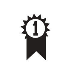 Flat icon in black and white first place vector
