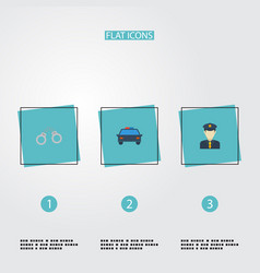 flat icons manacles police car policeman and vector image