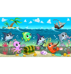 Funny marine animals in the sea with galleon vector image