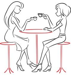 Girlfriends talking in cafe vector
