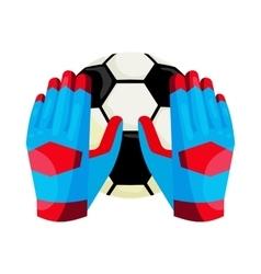 Goalkeeper gloves and a ball icon cartoon style vector