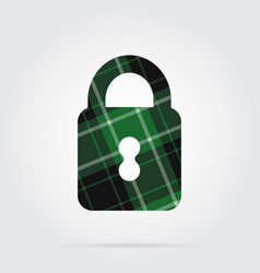 Green black tartan isolated icon - closed padlock vector