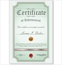 green detailed certificate vector image